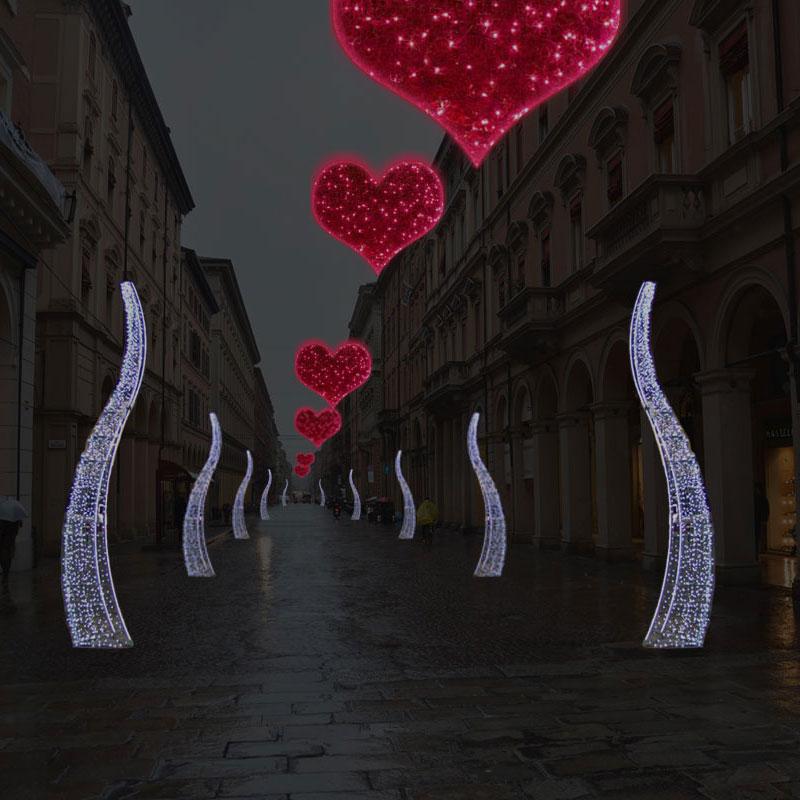Cadde Sevgililer günü süslemeleri