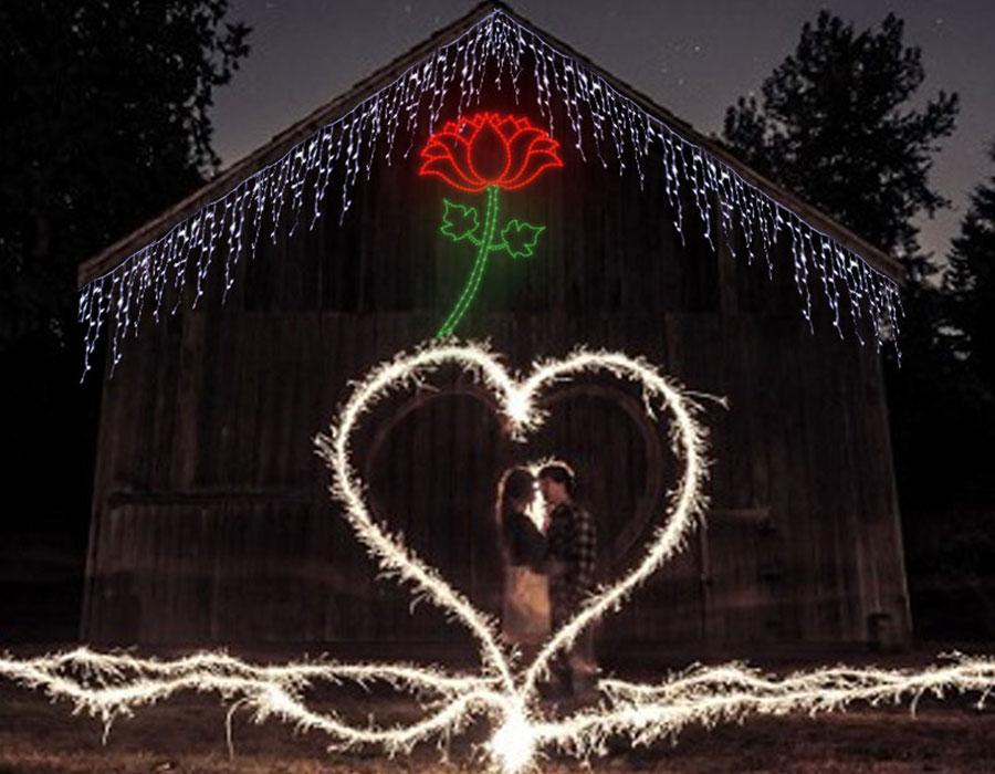 Sevgililer Günü Bahçe Işık Süsleme